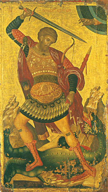 Icon of St. Theodore Tyron Slaying the Dragon – CS1185