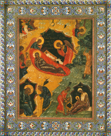 Icon of the Nativity of the Lord with Border – F139