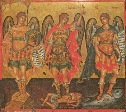 Icon of the Holy Archangels Michael, Gabriel and Raphael – S444