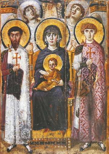 Icon of the Theotokos with St. Theodore & St. George – T71