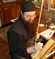 Father Anthony Painting an Icon