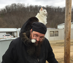 Father Anthony this Spring with Our Cat Jasper