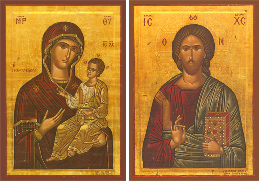 "Icons of the Portaitissa (""Of the Portal"") & Christ Blessing – T01 & J02"