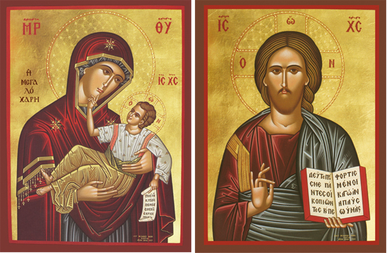 "Icons of the Theotokos ""Great Grace"" & Christ Blessing – T56 & J45"