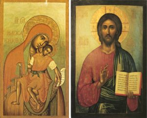"Icons of the Theotokos ""Eleusa-Kiksk"" & Pantocrator – T65 & J40"