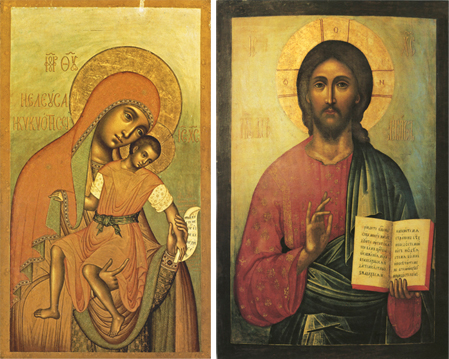 "Icons of the Theotokos ""Eleusa-Kiksk"" and Pantocrator – T65 & J40"