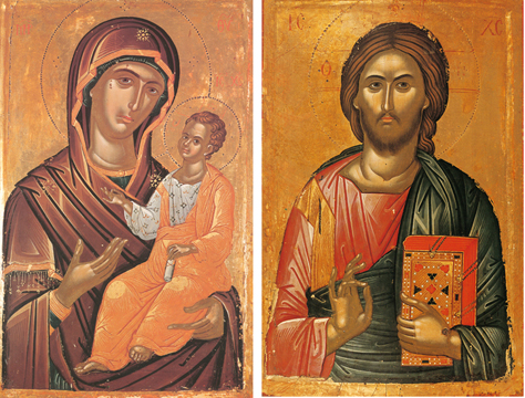 Icons of the Theotokos and Christ Blessing – T37 & J16