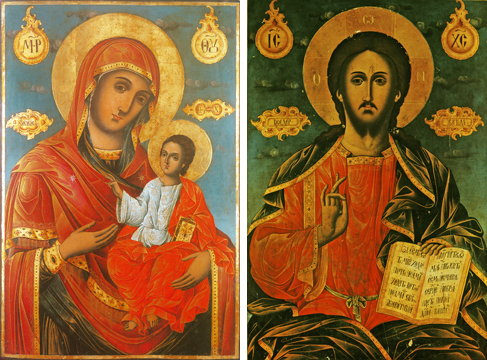 Icons of the Virgin Enthroned and Christ Enthroned – T103 & J88