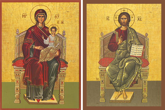 Icons of the Theotokos Enthroned & Christ Enthroned – T10 & J13