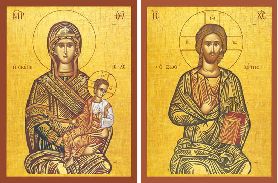 "Icons of the Theotokos ""The Protector"" & Christ ""The Life-Giver"" – T12 & J14"