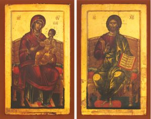 Icons of the Panagia Enthroned and Christ Enthroned – T13 & J15