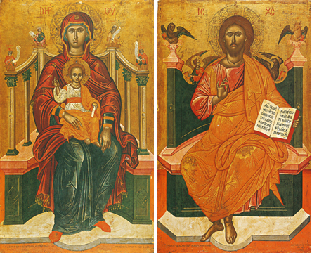Icons of the Theotokos Enthroned and Christ Enthroned – T14 & J09