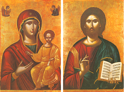 "Icons of the Theotokos ""Hodegetria"" & Christ Pantocrator – T62 & J56"