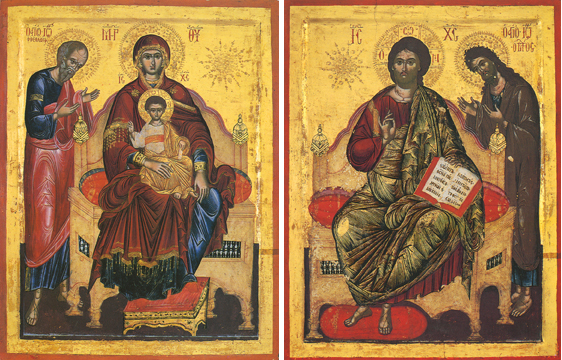 cons of the Theotokos Enthroned with St John the Theologian & Christ Enthroned with John the Baptist- T67 & J59