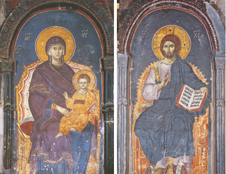 Icons of the Virgin Enthroned and Christ Enthroned – T99 & J86